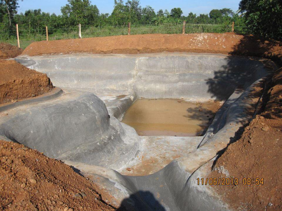 Completed pond lined with ferrocement