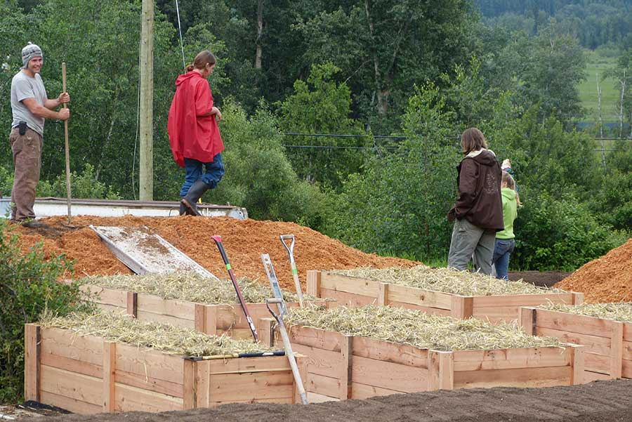 A system of raised beds provides ample food growing space.