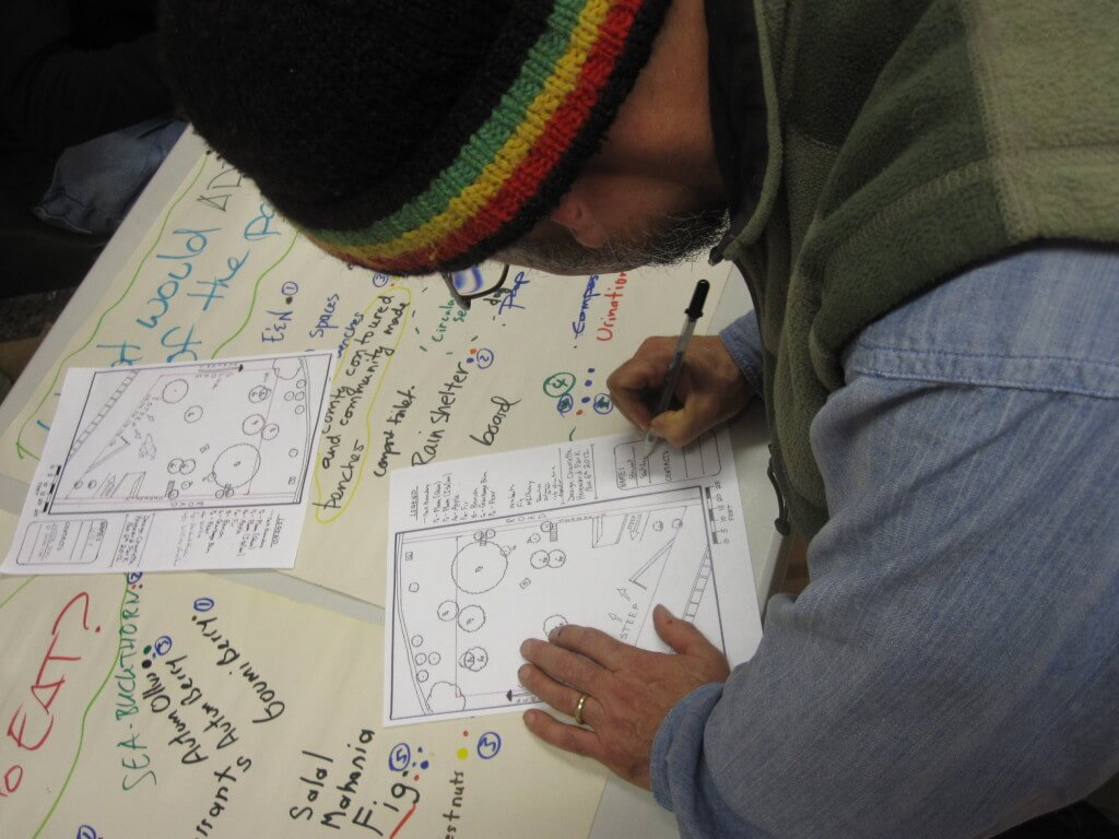 A participant sketches their vision of the park