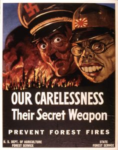 WW II US government poster to encourage citizens not to ignite wildfires.